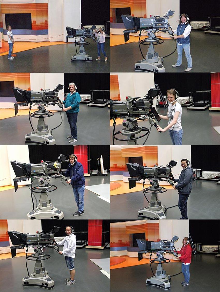Ausprobieren einer Kamera im ZDF-Studio